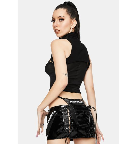 Namilia Motocross Black Patent Lace-Up Micro Mini Skirt With Detachable Panty
