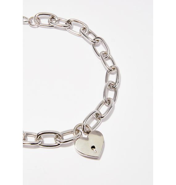 Disturbia Heart Lock Necklace