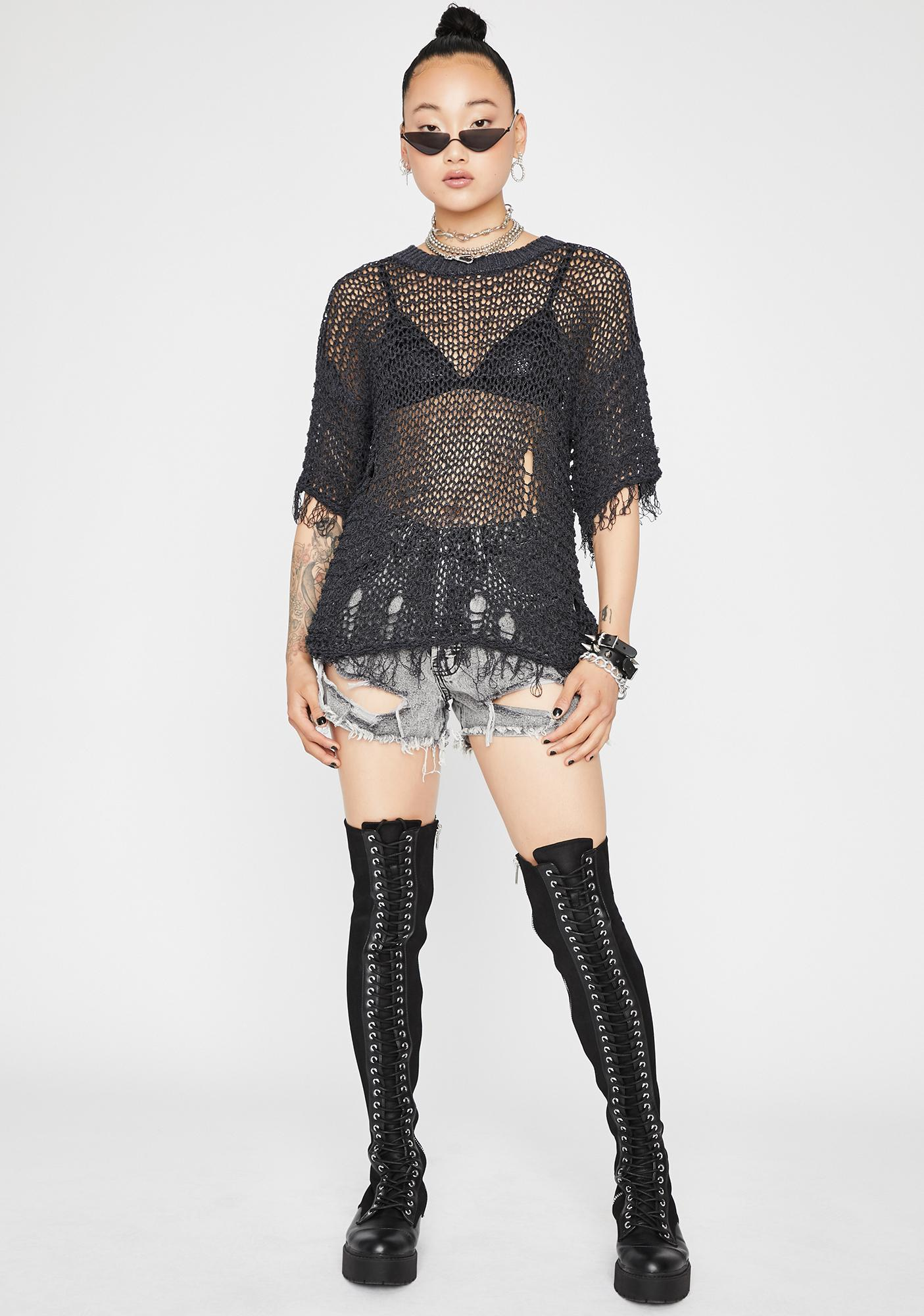 Distressed Out Knit Sweater