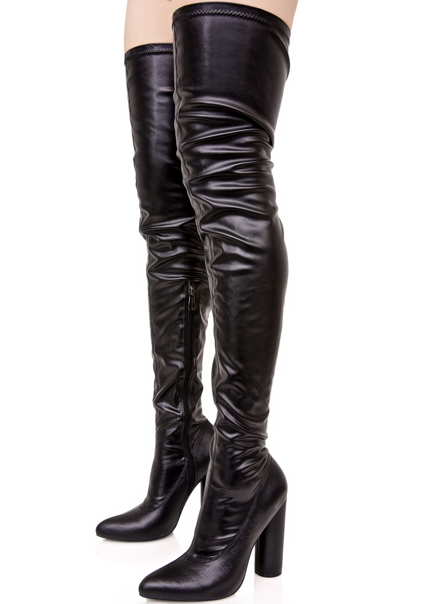 Black Faux Vegan Leather Thigh High Heeled Boots