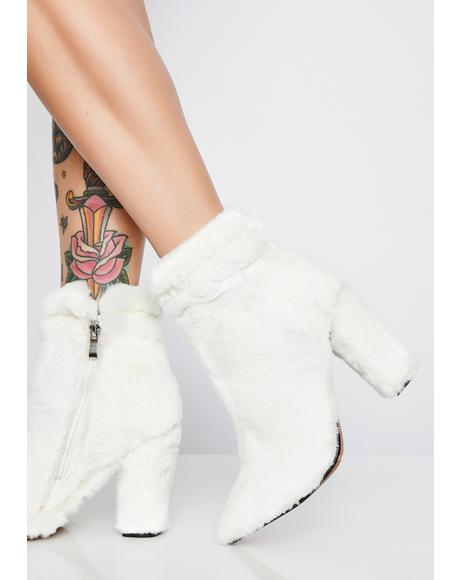 Cream Faux Fur Boots