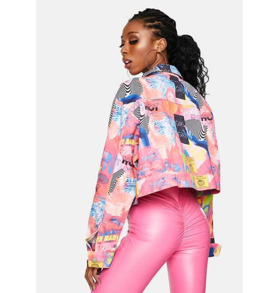 Elsie & Fred Empower Print Cropped Denim Jacket