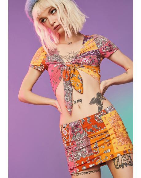 My New Fling Paisley Skirt Set