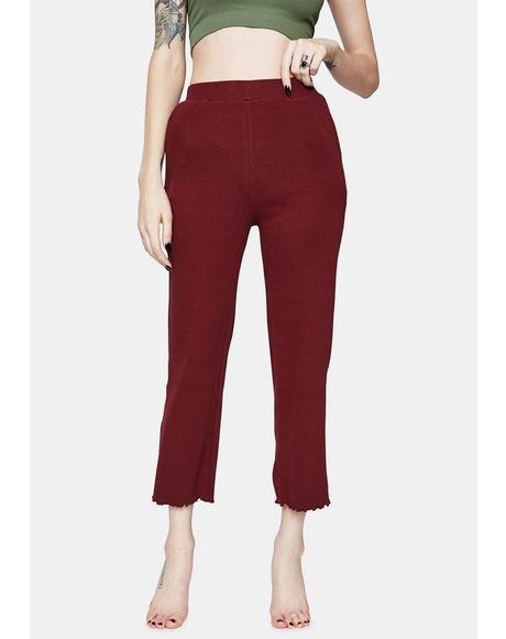 Wine Make My Way Frill Hem Pants