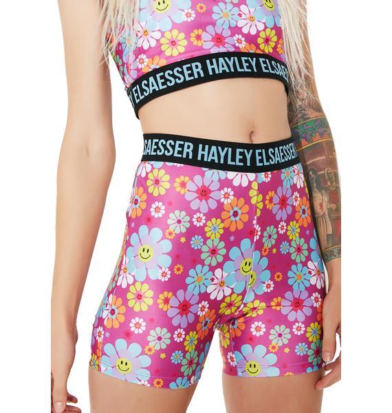 Hayley Elsaesser Flower Smiley Biker Shorts