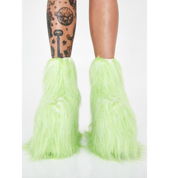 Y.R.U. Qomet Green Fur Platform Boots