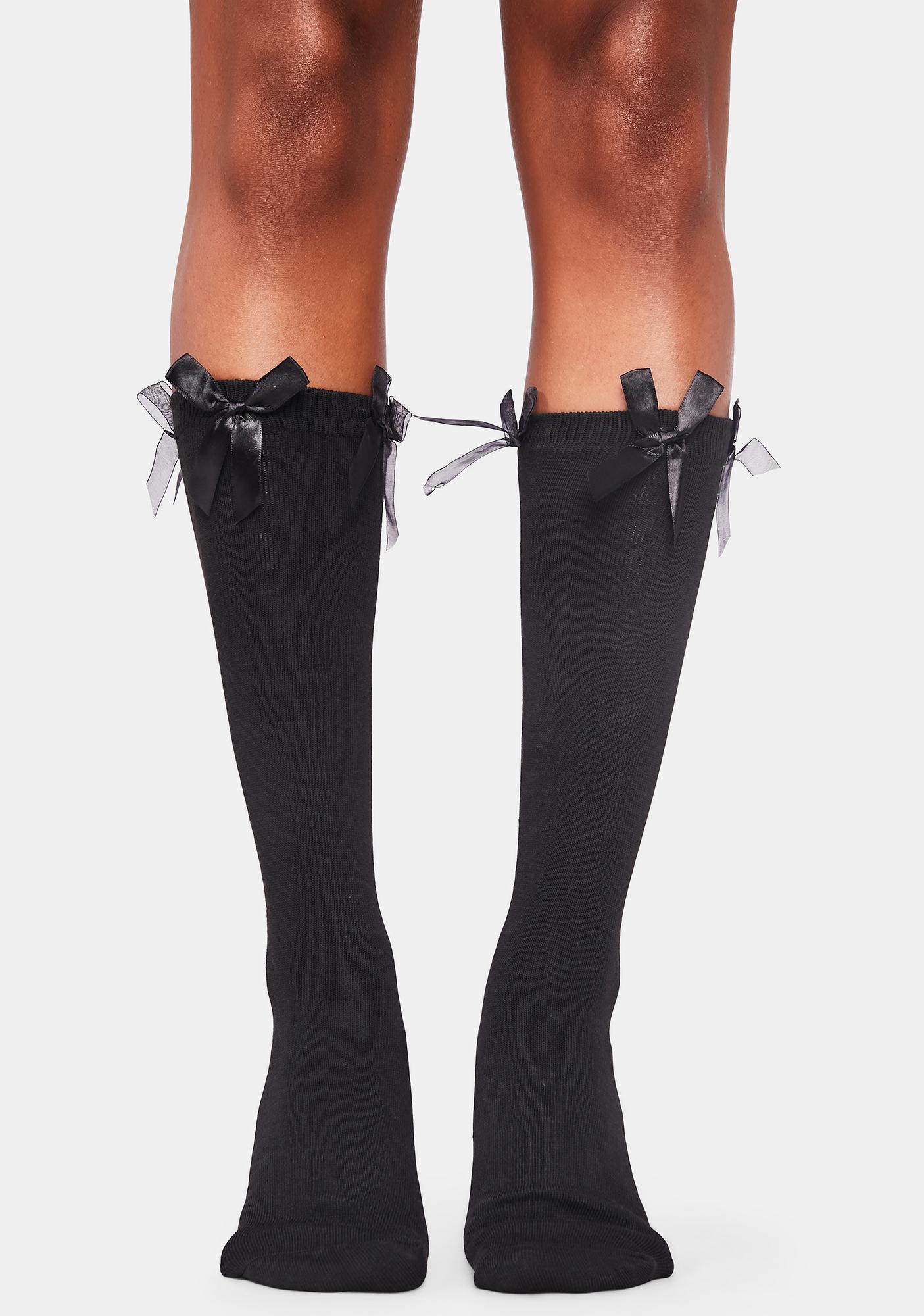 Noir Heaven's Baby Bow Knee Socks