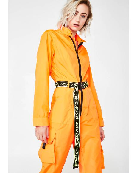 Neon Orange Boilersuit With Industrial Belt