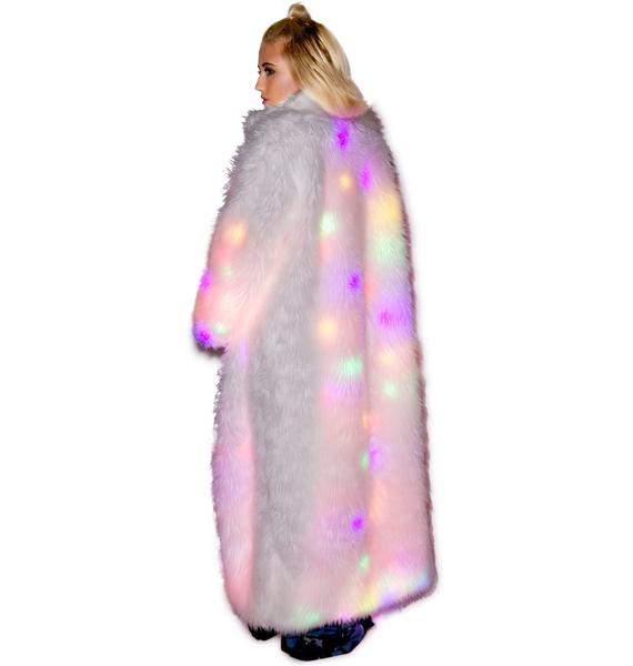 J Valentine Flashing Lights Long Fur Jacket