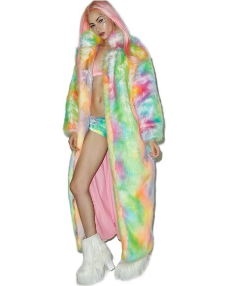 Rainbow Flashing Lights Long Coat