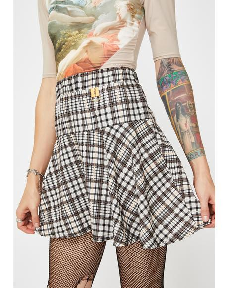 Check Print Mini Skirt