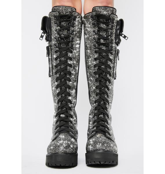 Club Exx Bling Brigade Pocket Combat Boots