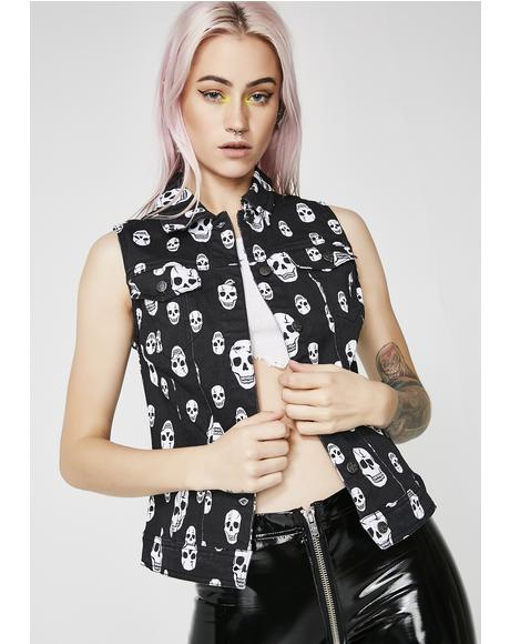 Toxic Skull Jean Jacket Vest