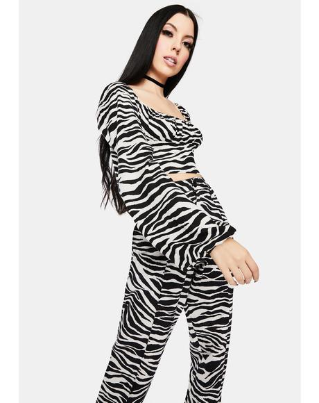Irene Zebra Long Sleeve Crop Top