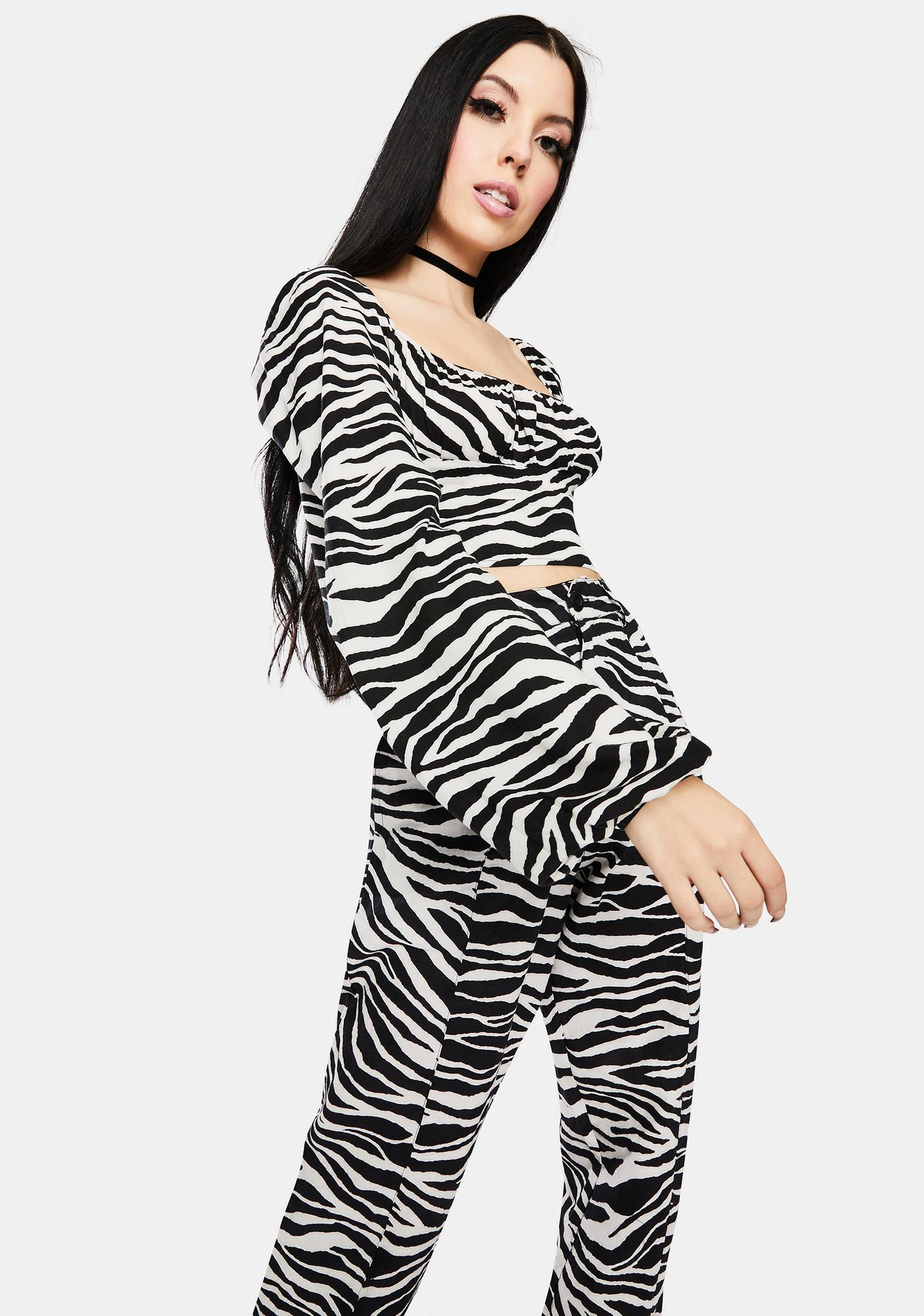 Motel Irene Zebra Long Sleeve Crop Top