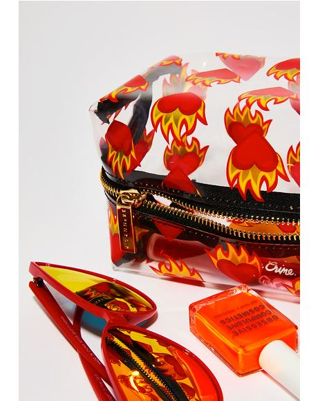 Flaming Heart Make Up Bag