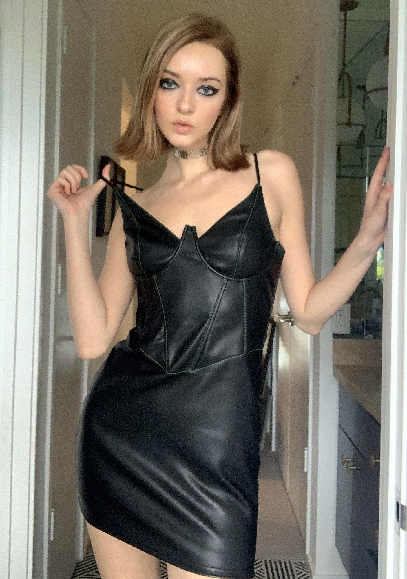 Black Faux Leather Loose Fit Short Mini Dress in Small Medium and Large