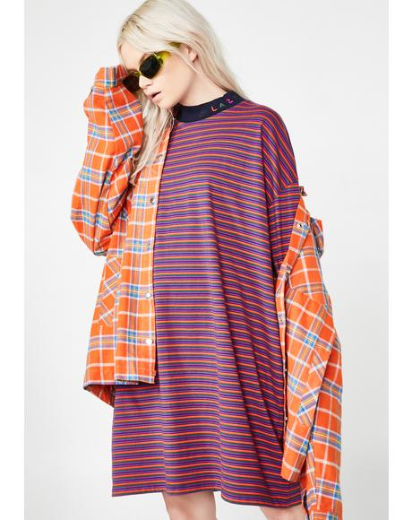 Tiny Stripe Oversized T-Shirt Dress