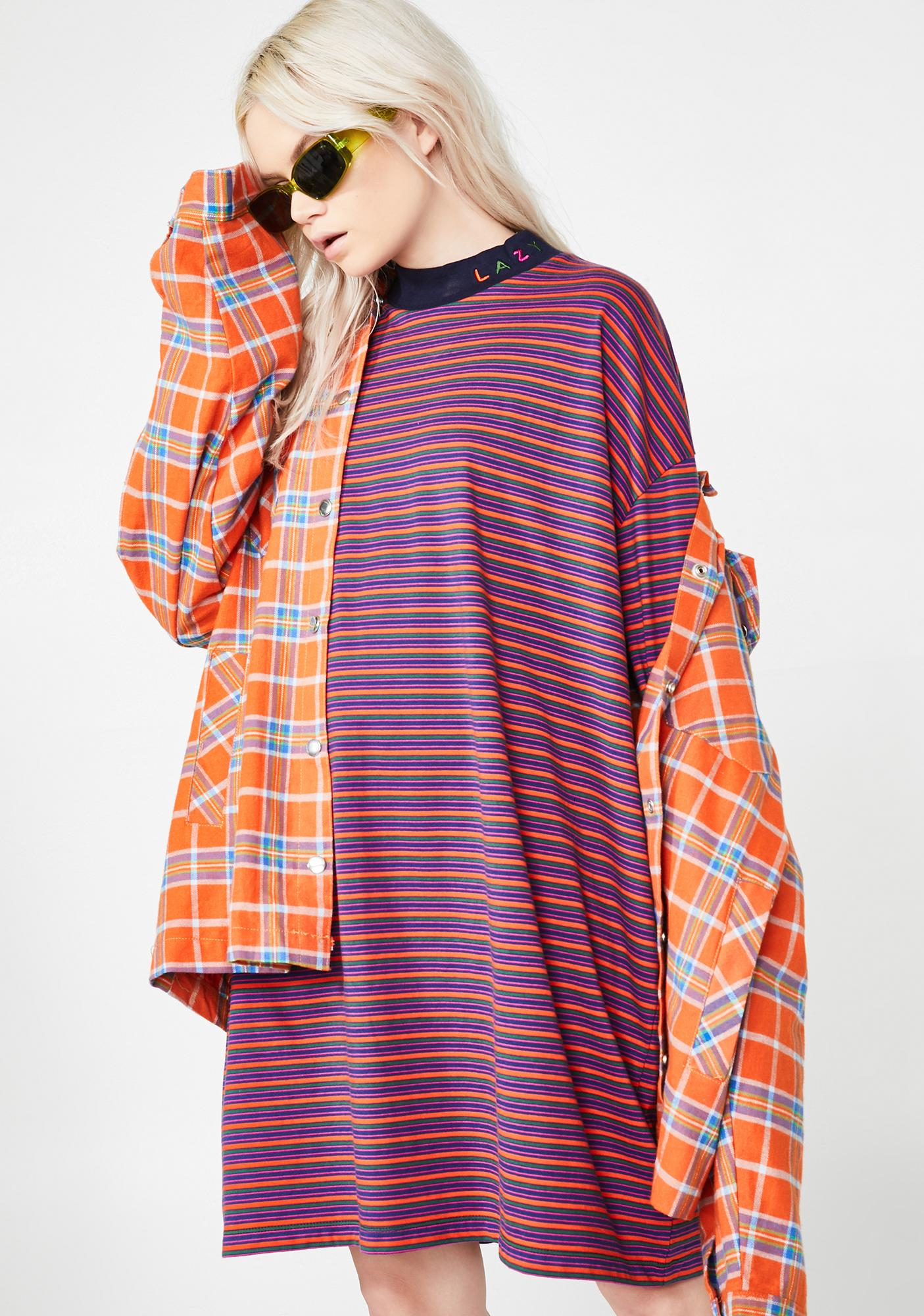 Lazy Oaf Tiny Stripe Oversized T-Shirt Dress