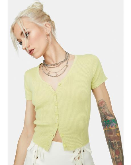 Sage Call Upon Me Cropped Cardigan