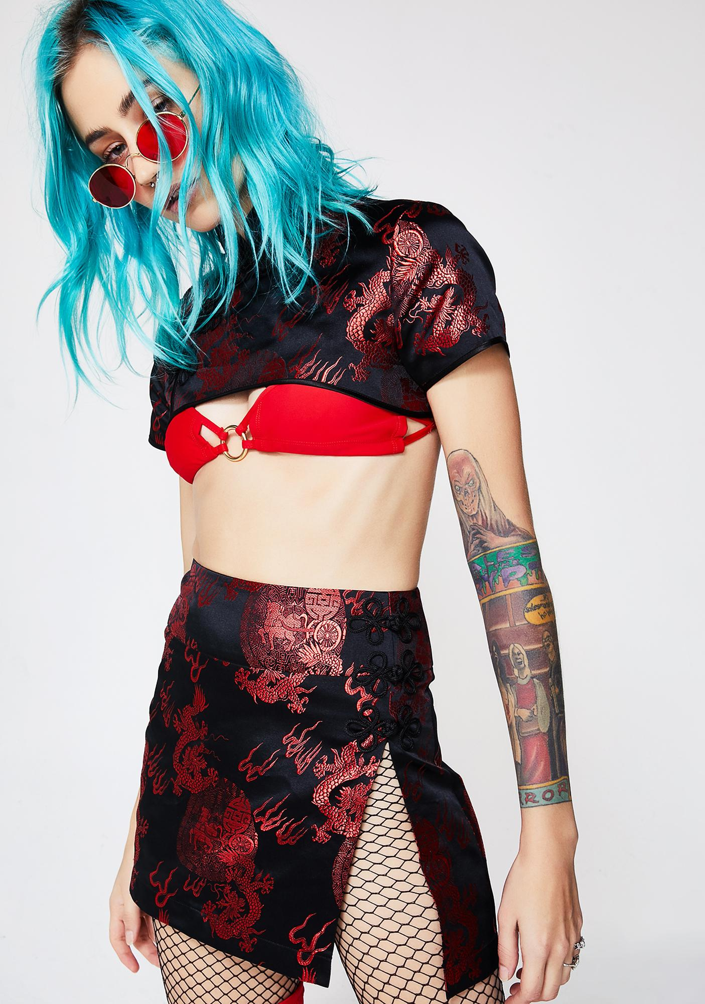Current Mood Regal Attitude Embroidered Crop Top