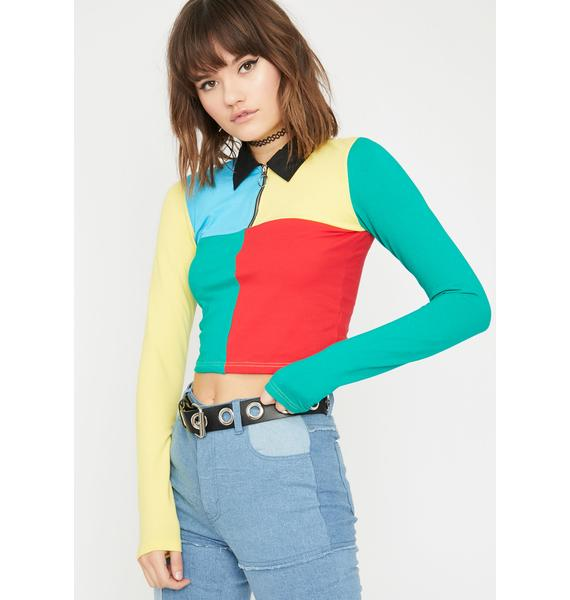 Current Mood Primary Instincts Collared Top