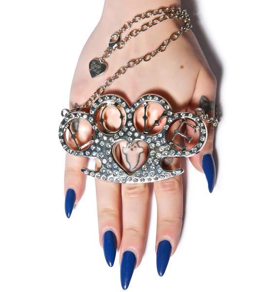 Heart Brass Knuckles Necklace