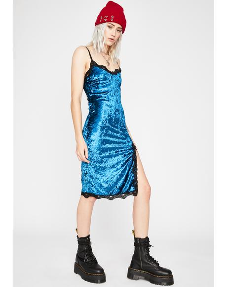 Teal Read Into Me Velvet Dress