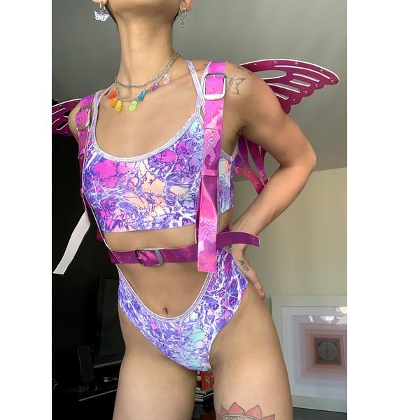 Daisy Corsets Fuschia Holographic Butterfly Wing Harness
