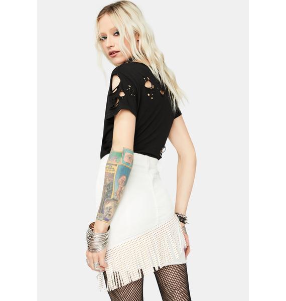 Can't Hold Me Back Fringe Denim Skirt
