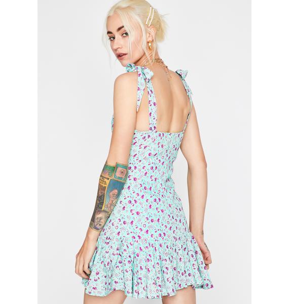 Aqua Summer Bloom Floral Dress