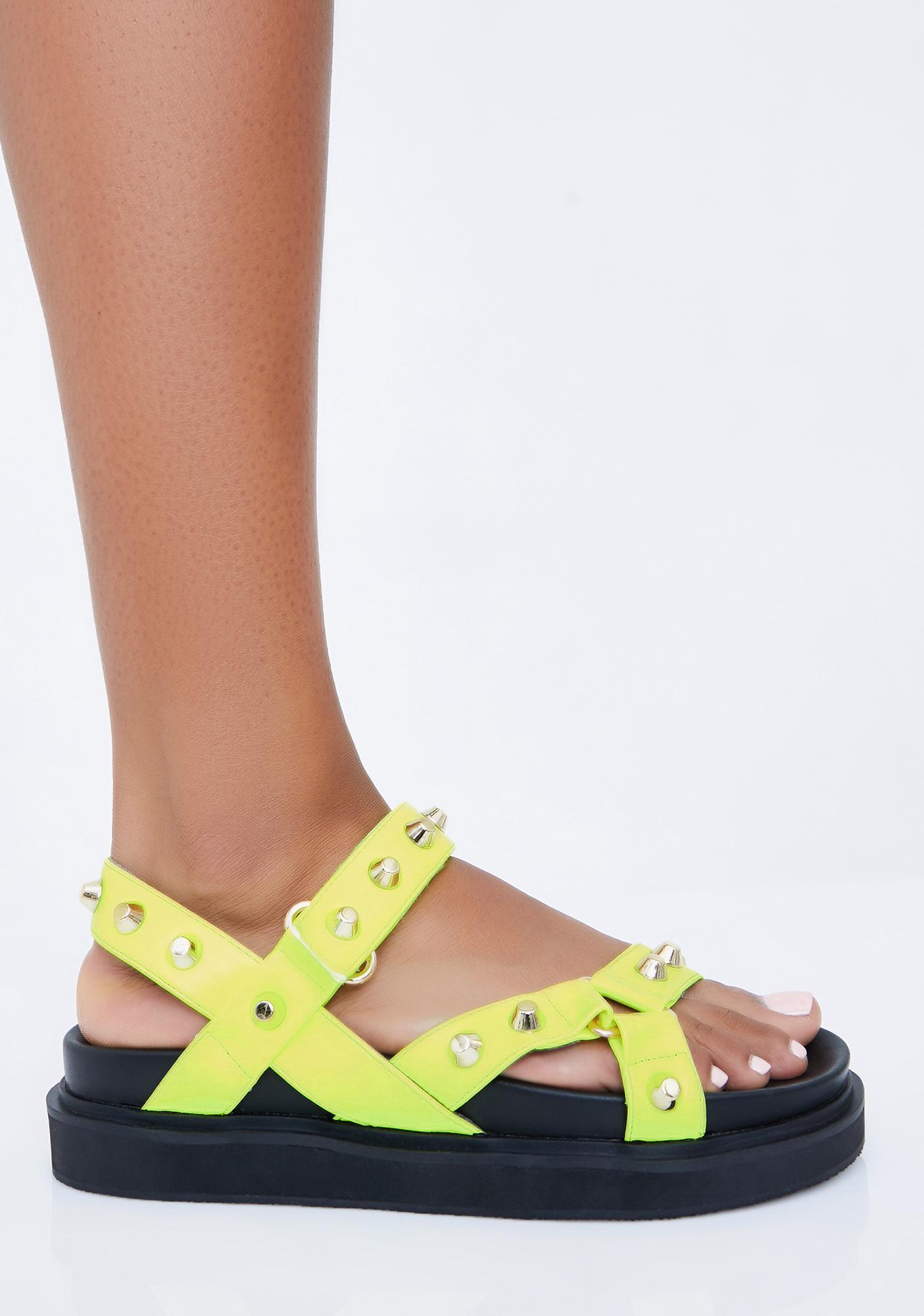 Lime Miss Gladiator Studded Sandals