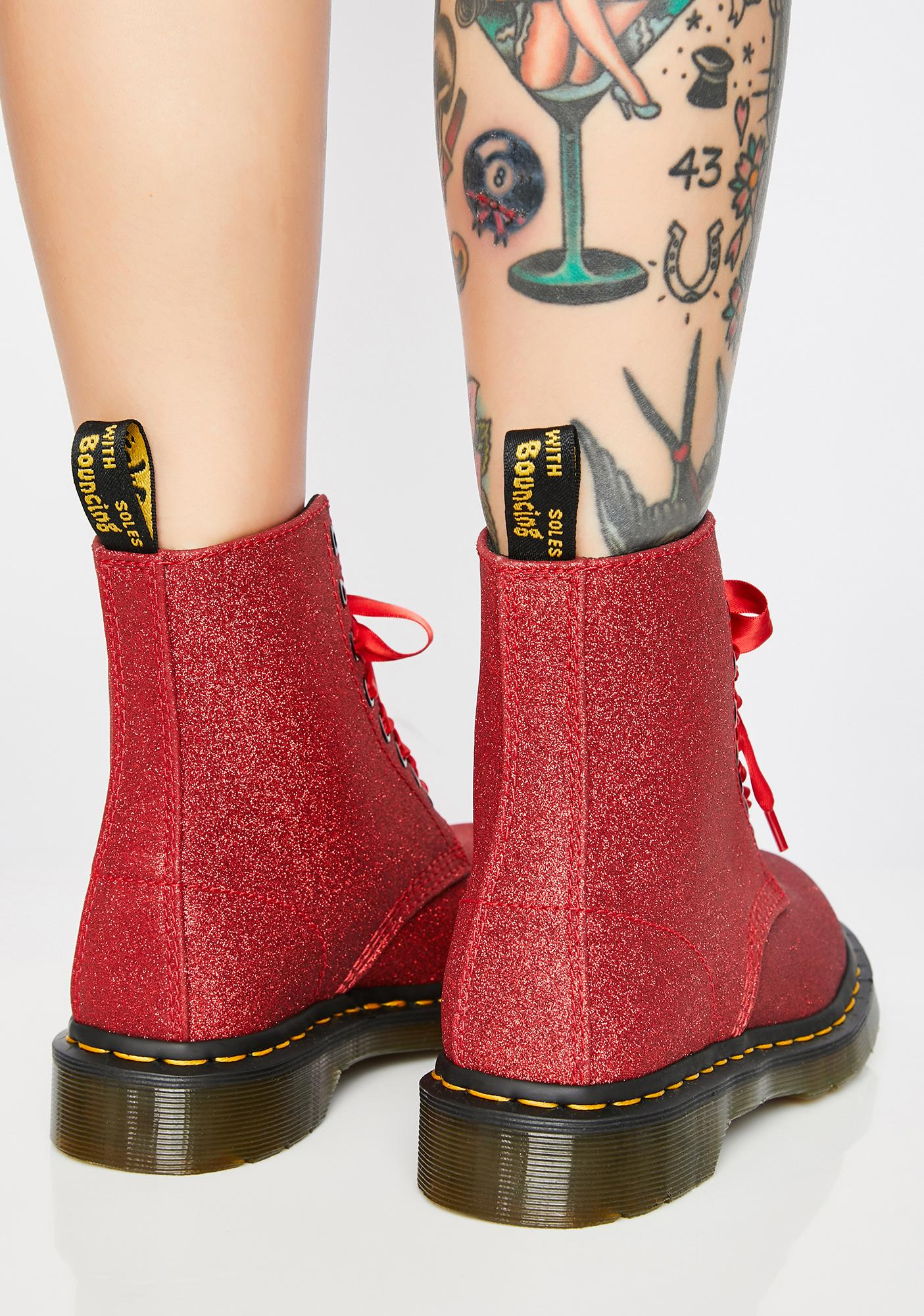 Dr. Martens 1460 Pascal Red Glitter Boots