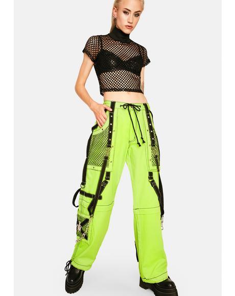 Neon Wide Leg Net Cargo Bondage Pants