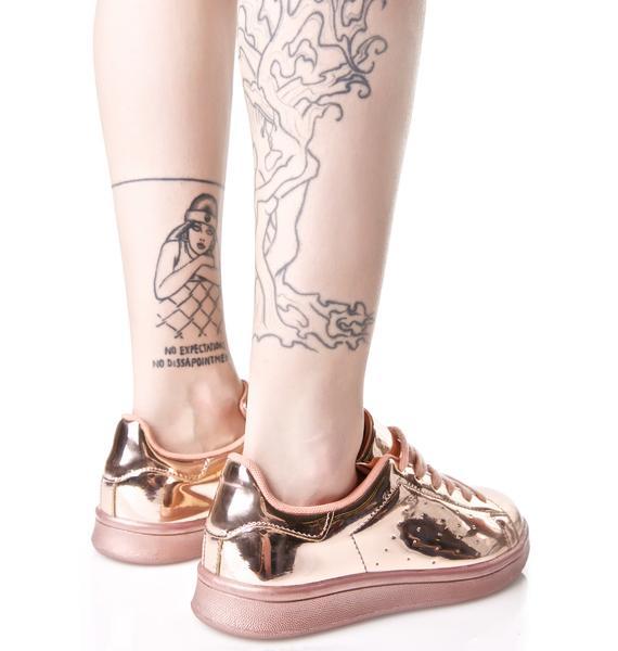 Melted Rose Metallic Sneakers