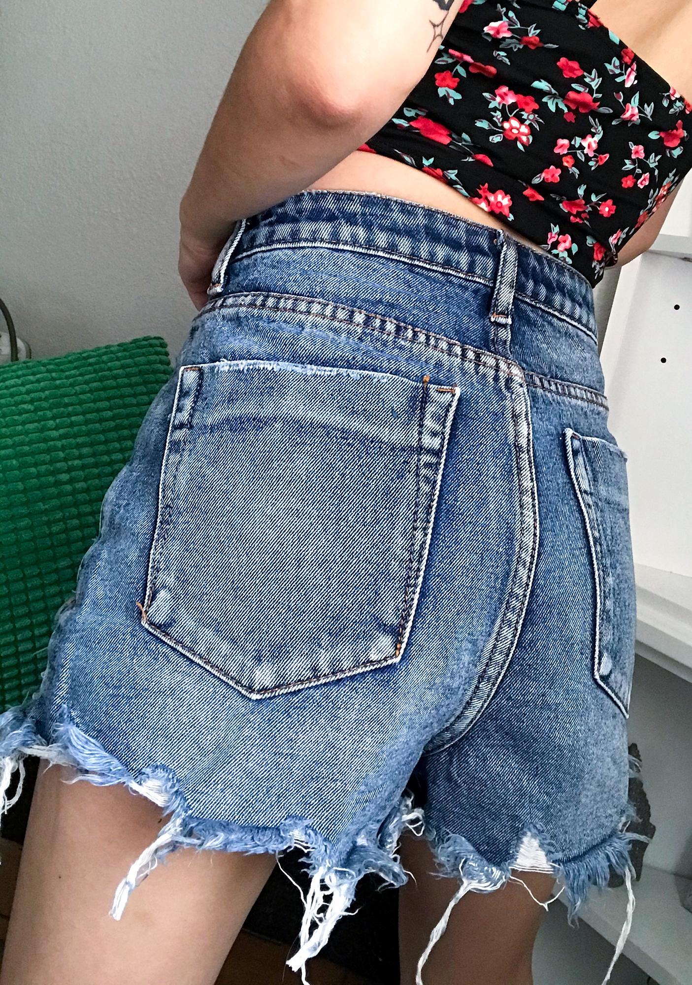 On A New Level Denim Shorts