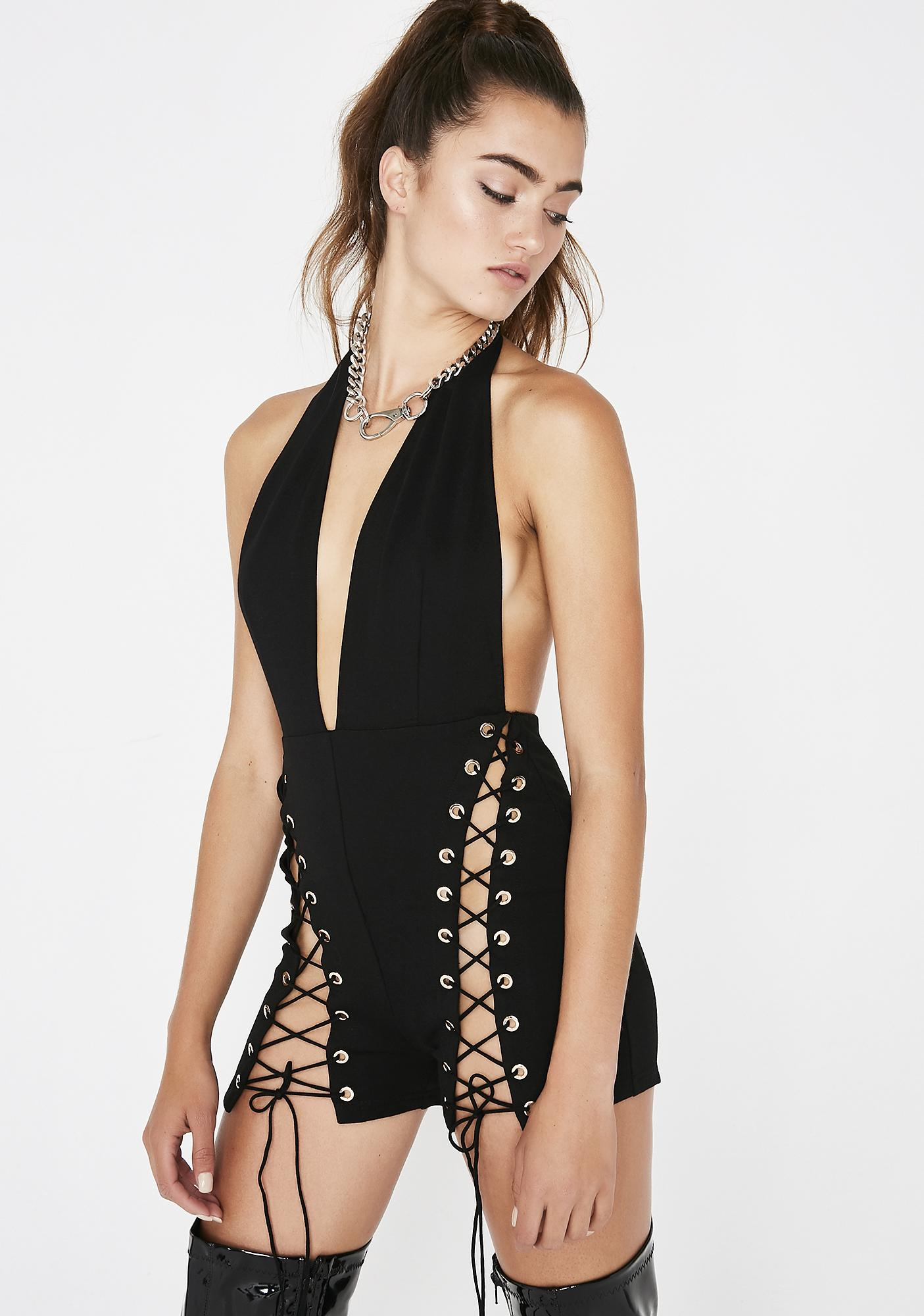 Complete Domination Lace-Up Romper