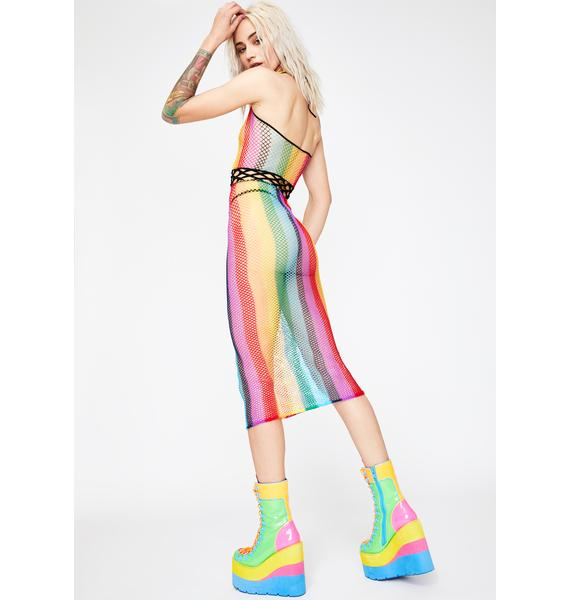 Rainbow Disconnection Fishnet Dress