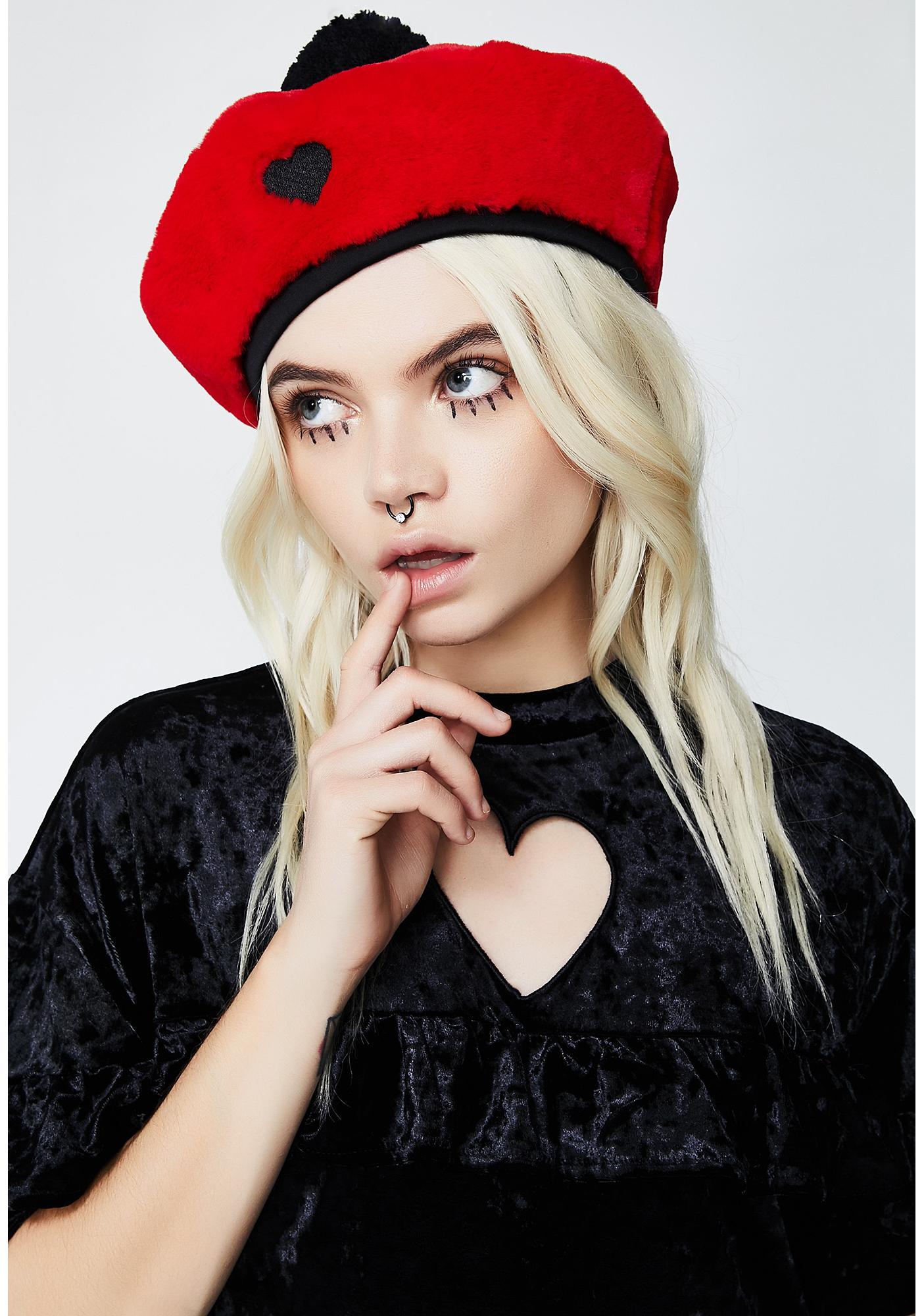 Lazy Oaf Red Fur Beret