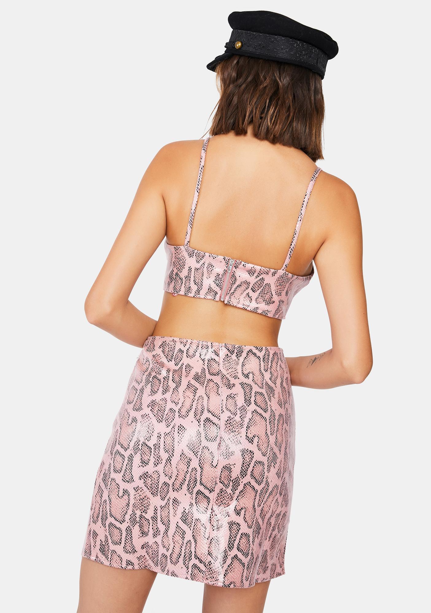 Motel Pink Snake Wren Mini Skirt
