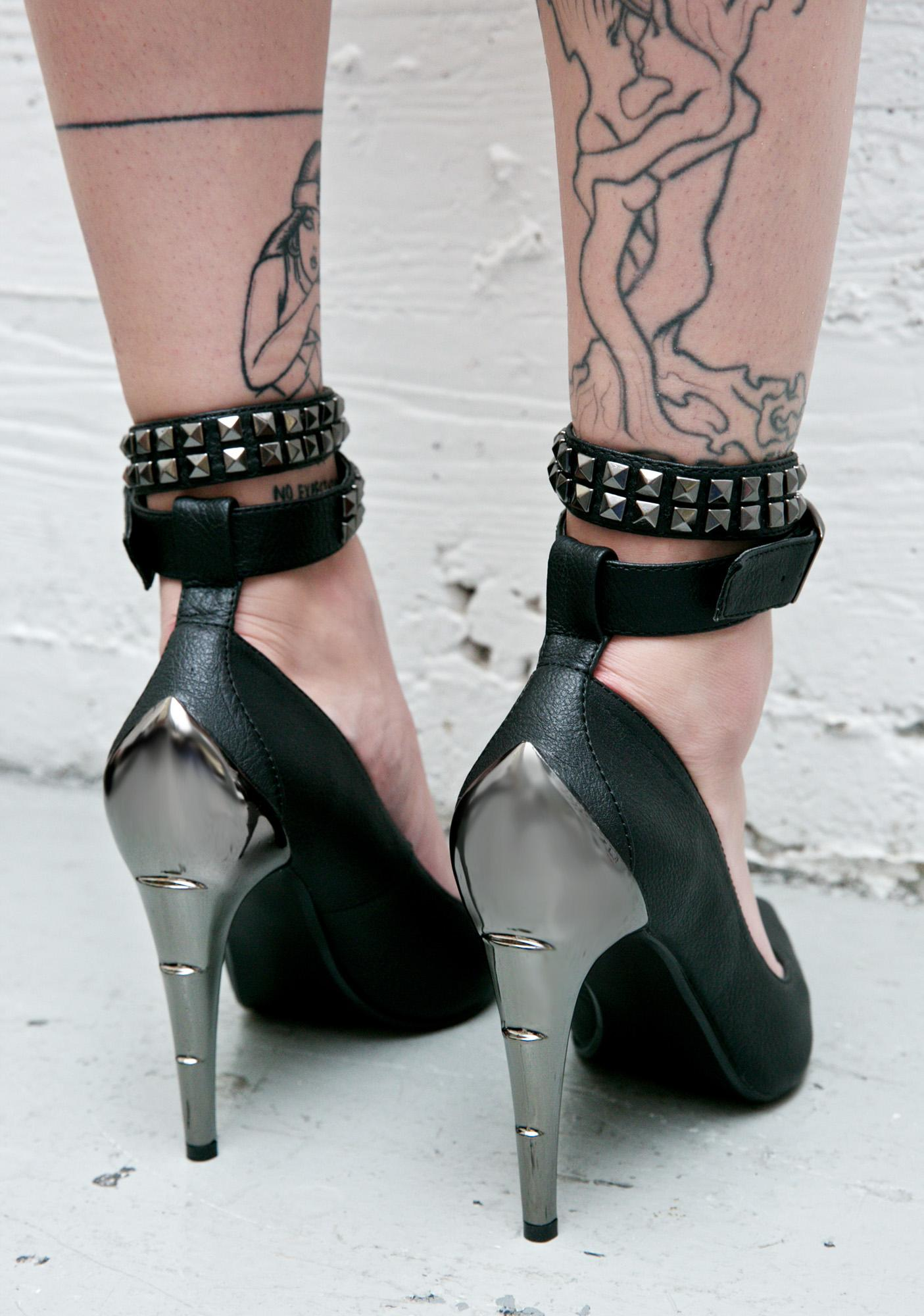 Demonia Voltage Chrome Bolt Heel