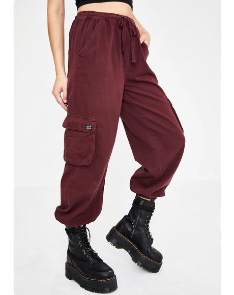 Maroon Raff Baggy Cuffed Cargo Pants