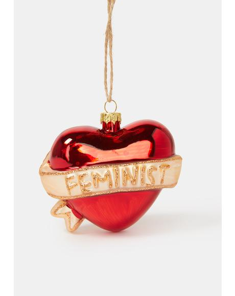 Feminist Glitter Heart Ornament