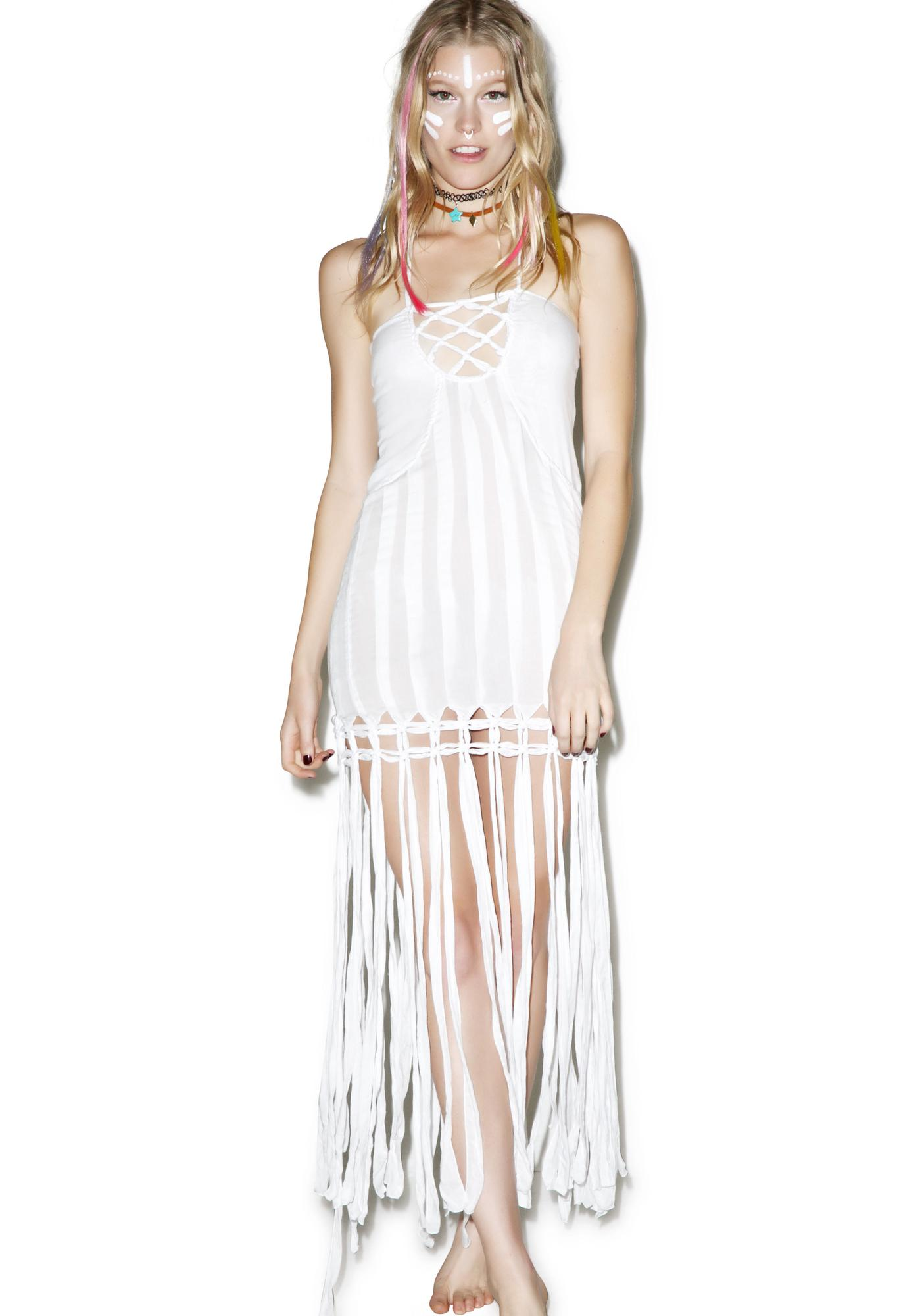 Indah Takala Macrame Fringe Dress