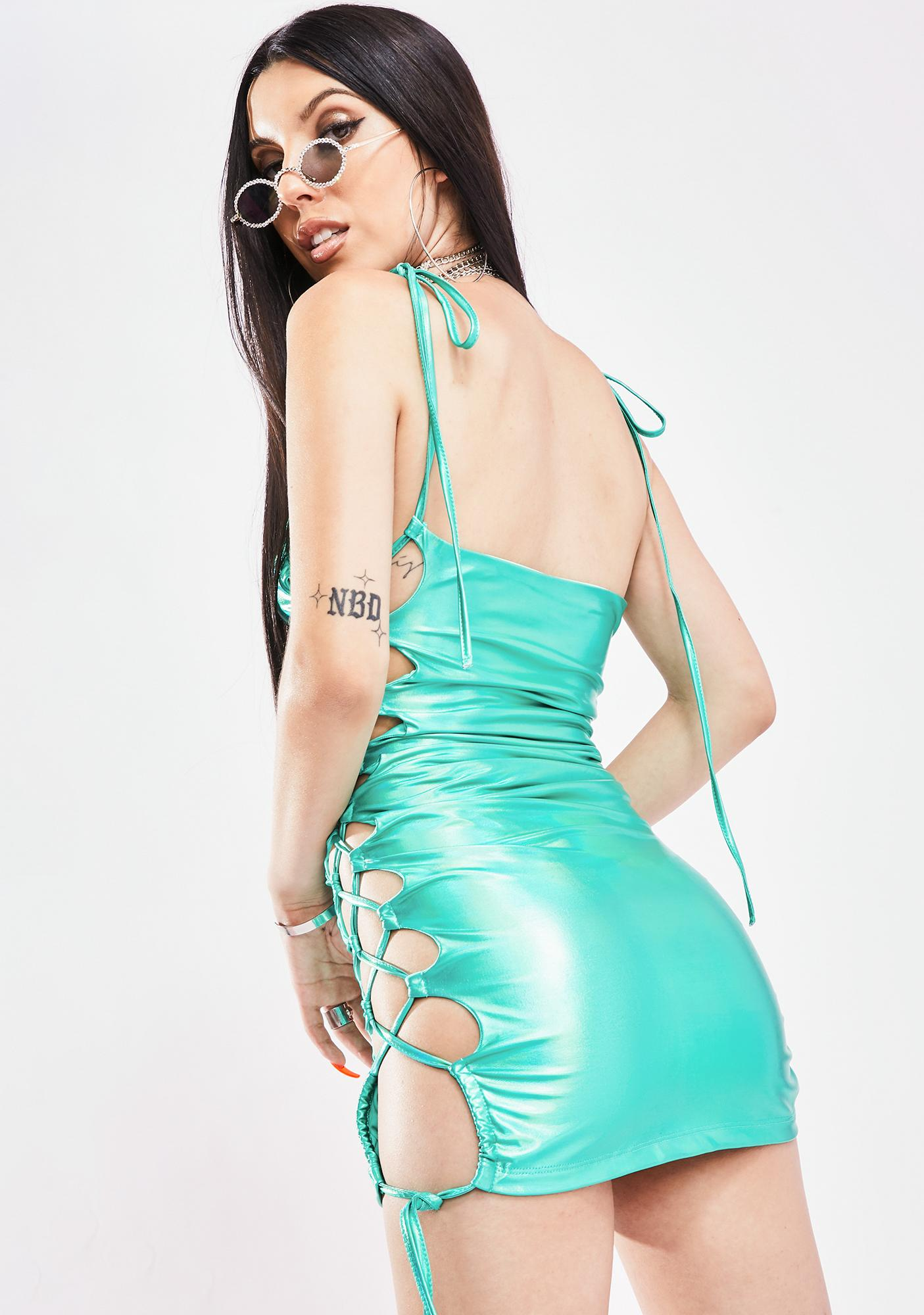 Aqua In Your Dreams Lace Up Dress