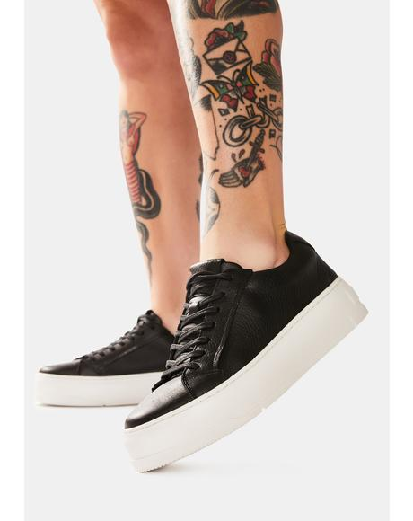 Judy Black Leather Sneakers