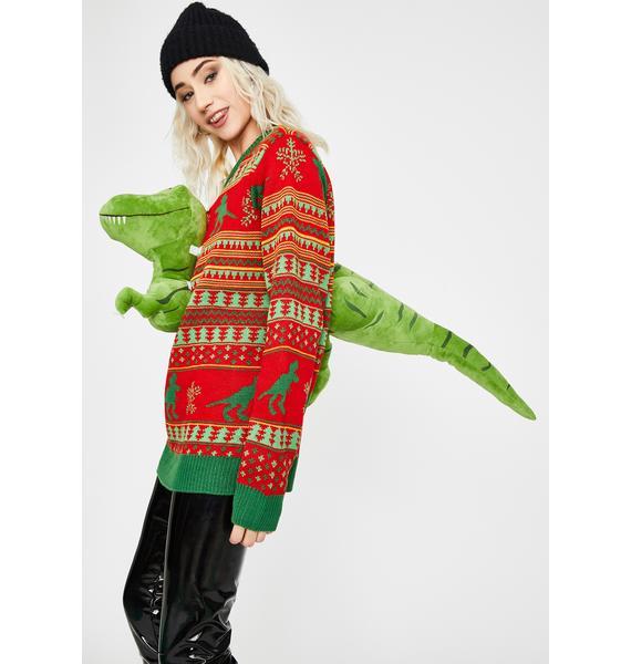 Rex The Halls 3D Dinosaur Sweater