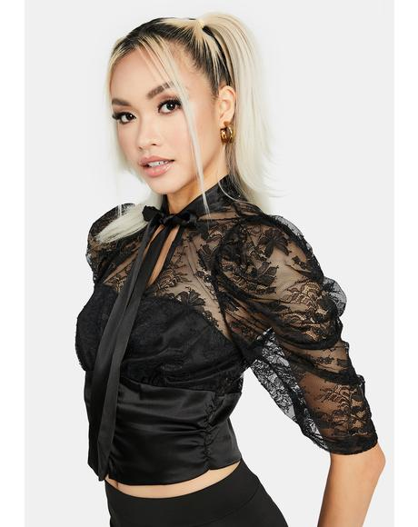 Noir Dainty Dreams Lace Blouse
