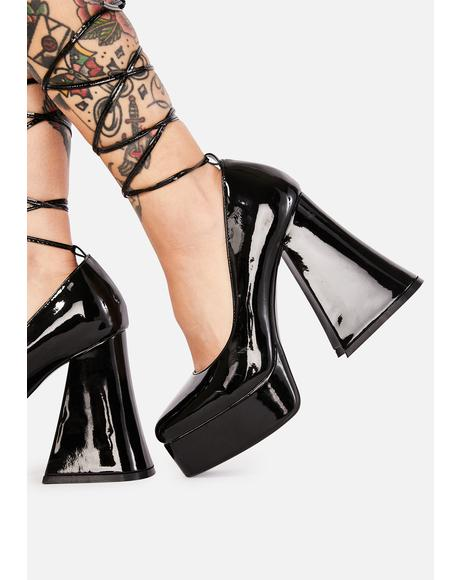 Noir Lush & Lavish Platform Heels