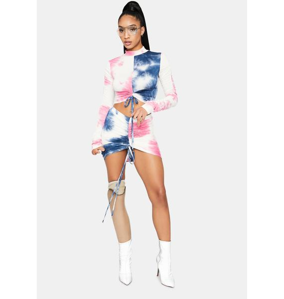 Sour Then Sweet Tie Dye Ruched Skirt Set